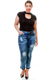 Plus Size Washed Out Ripped Jeans