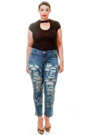 Plus Size All Over Destroyed Biker Jeans
