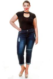Plus Size Ripped Knee Dark Denim Jeans