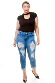 Plus Size Casual Ripped Off Skinny Jeans