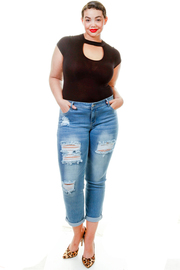 Plus Size Roll Up Ripped Skinny Jeans