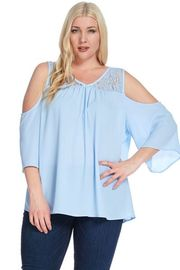 Plus Size V-neck Laced Trim Open Shoulder Blouse