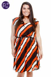Plus Size Slanted Striped Flared Dress