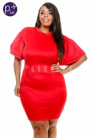 Plus Size Trumpet Short Sleeved Tube Dress