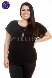 Plus Size Short Sleeved Solid Top