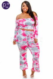 Plus Size Sexy In Tie Dye Cropped Pants Set