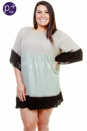 Plus Size Colorblock Sheer Tunic Dress