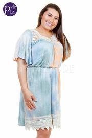 Plus Size Tie Dye Crochet Beach Dress
