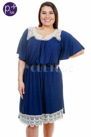 Plus Size Crochet Chest Solid Flared Dress