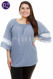 Plus Size Casual In Checker Loose Top