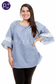 Plus Size Striped Crochet Trim Loose Top