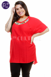 Plus Size Colorful Beaded Neckline Tunic Top
