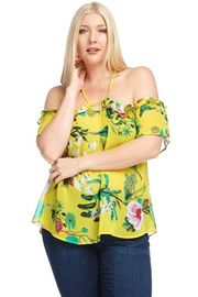 Plus Size Peek A Boo Spring Tropical Blouse