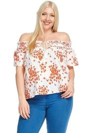 Plus Size Off Shoulder Floral Drawstring Smocked Top