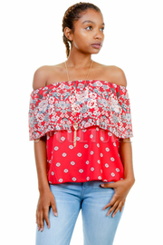 Spring Off Shoulder Printed Top