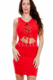 Sexy Tie Up Mini Bodycon Dress