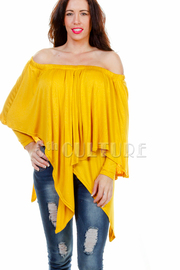 Off Shoulder Jersey Asymmetric Top