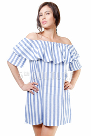 Off Shoulder Striped Chambray Tunic Dress
