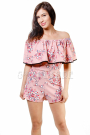 Pretty In Floral Off Shoulder Flounce Romper