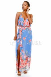 Floral Spring Sheer Slit Maxi Dress