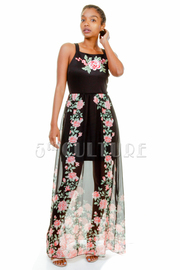 Solid Roses Patch & Printed Maxi Sheer Dress