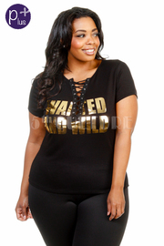 Plus Size Wanted and Wild Eyelet Foiled Crop Top