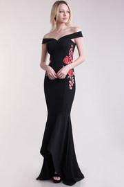 Floral Patch Side Off Shoulder Maxi Gown