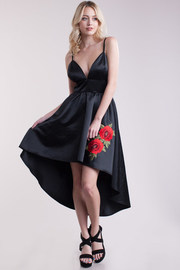 Silky Floral Patch Hi Lo Flared Dress