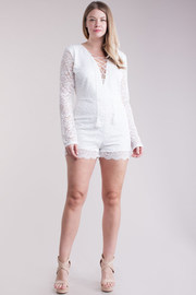 Plus Size Long Sleeved Tie Up Lacey Romper