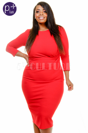 Plus Size 3/4 Sleeved Solid Midi Dress