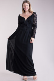 Plus Size Sweetheart Laced Maxi Sheer Dress