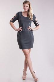 Plus Size Sliced Sleeved Basic Mock Tube Dress