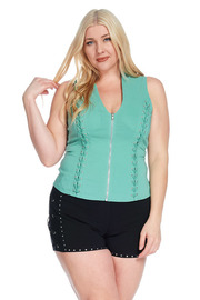 Plus Size Tie Up Side And Crazy Straps Back Sexy Corset Top