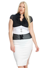 Plus Size Ruffled  Collar Chiffon Casual Belted Top
