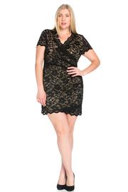 Plus Size Surplice Laced Mini Tube Dress