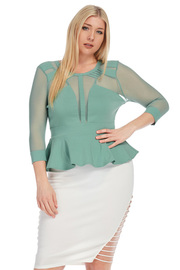 Plus Size Caged Mesh 3/4 Sleeved Peplum Top
