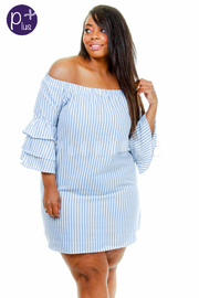 Plus Size Off Shoulder Striped Ruffle Tunic Dress