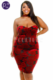 Plus Size Sexy In Love With Roses Choker Sweetheart Velvet Dress