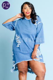 Plus Size Distressed Denim HI Lo Tunic Dress