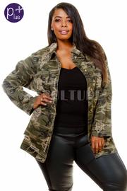Plus Size Military Denim Distressed Jacket