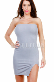 Solid Strapless Slit Mini Dress