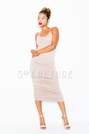 Basic Ruched Midi Bodycon Dress