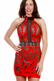 See Through Mesh Brocade Mini Dress