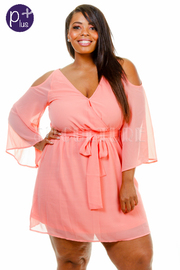 Plus Size Cold Shoulder Surplice Kimono Sheer Dress