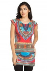 Cap Sleeved Dashiki Printed Tunic Top