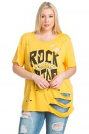 Plus Size Sliced Cut Rock Star Printed Top