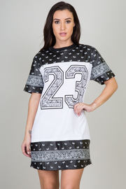 Perforated Paisley Faux Leather Inset #23 Mini Dress