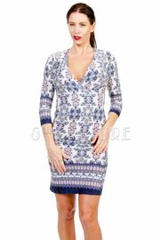 Surplice Printed Tunic Midi Dress