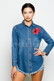Rose Patch Side Button Denim Jacket