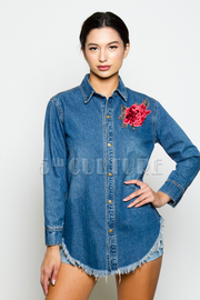Rose Patch Side Button Denim Jacket